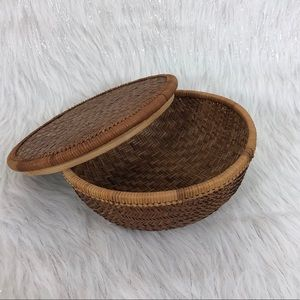 Other - Boho decor wicker basket with lid